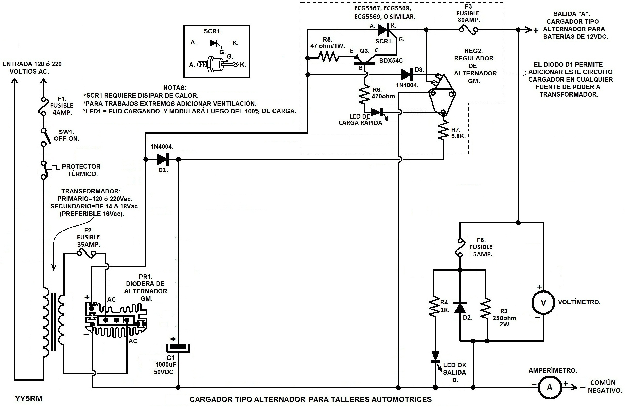 Circuito General : Solucionado: cargador automatico de bateria generador diesel