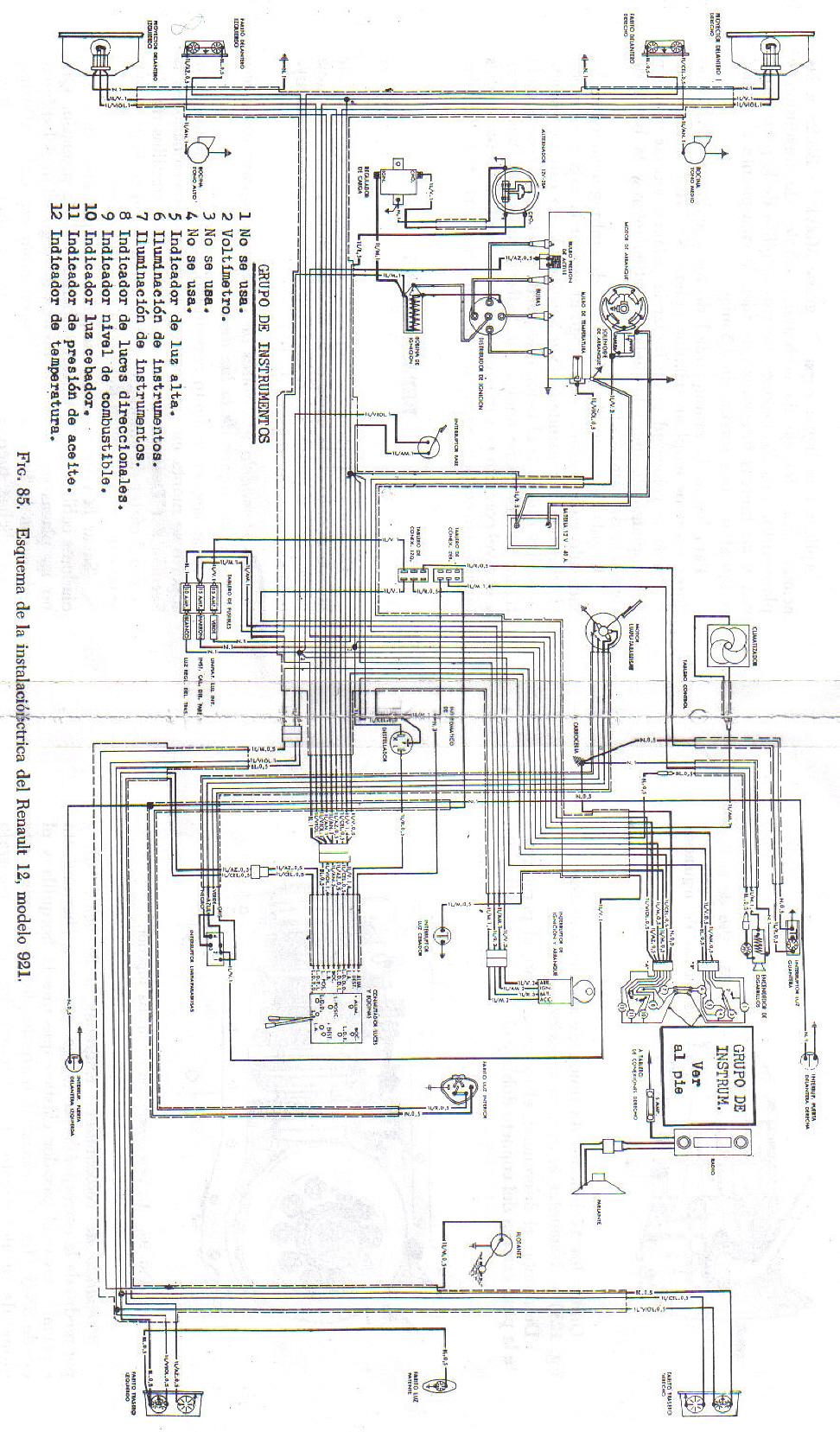 Ac U00c0 Est U00c0 El Diagrama El U00c8ctrico Completo Del Renault 12